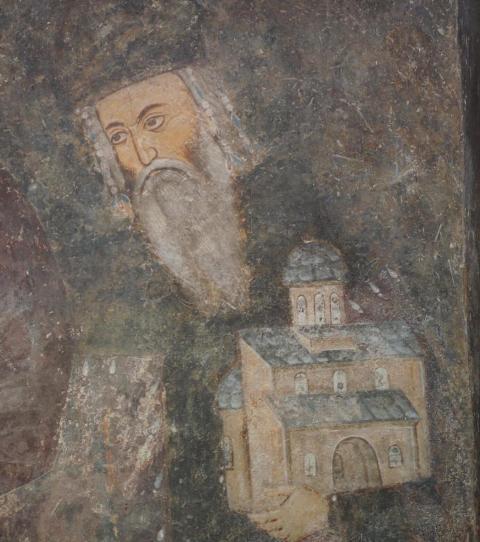 Kralj Uroš I sa maketom manastira u rukama